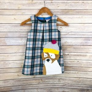 Mini Boden Plaid Dog Appliqué Jumper Dress Sz 4/5